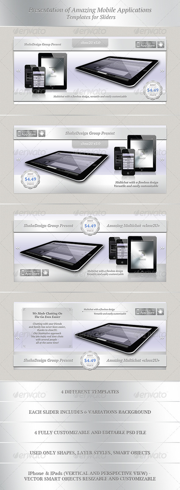 Presentation of Mobile Applications - Sliders & Features Web Elements