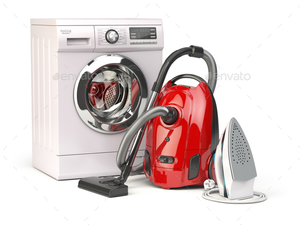 Home appliances. Group of vacuum cleaner,  iron and washing mach - Stock Photo - Images