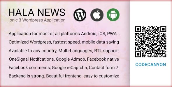 Full Ionic 3 Mobile App for WordPress - Admob, Native Ads, Social Login - Hala News Pro - CodeCanyon Item for Sale