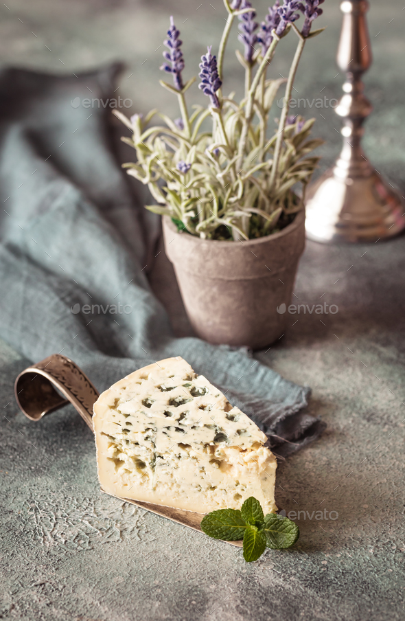 Blue cheese with mint leaves - Stock Photo - Images