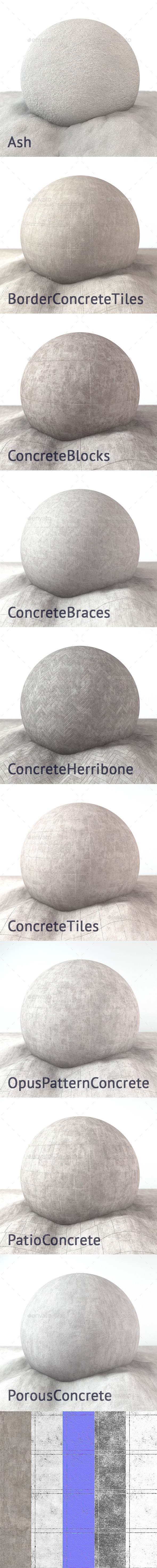 Concrete 4K Texture set 9 items - 3DOcean Item for Sale