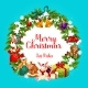 Merry Christmas Greetings in Fir Wreath - GraphicRiver Item for Sale