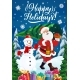 Santa with Chtistmas Tree, Gifts and Snowman - GraphicRiver Item for Sale
