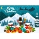 Merry Christmas Greeting Card with Snowman in Hat - GraphicRiver Item for Sale