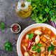 Minestrone, italian vegetable soup with pasta on  table. Vegan food. Top view - PhotoDune Item for Sale