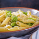 Penne pasta with cabbage romanesco on black table. Vegetarian food. Italian menu - PhotoDune Item for Sale