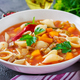 Minestrone, italian vegetable soup with pasta on  table. Vegan food - PhotoDune Item for Sale