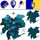 Map of Santiago, Chile with Named Divisions - GraphicRiver Item for Sale