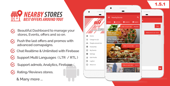 NearbyStores - Offers, Events & Chat Realtime + Firebase 1.5 - CodeCanyon Item for Sale