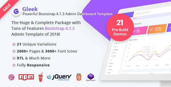 Gleek | Powerful Bootstrap 4 Admin Dashboard Template