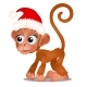 Cute Monkey in a Red Cap of Santa Claus Isolated - GraphicRiver Item for Sale