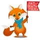 Cute Animated Fox in Winter Knitted Scarf Holding - GraphicRiver Item for Sale
