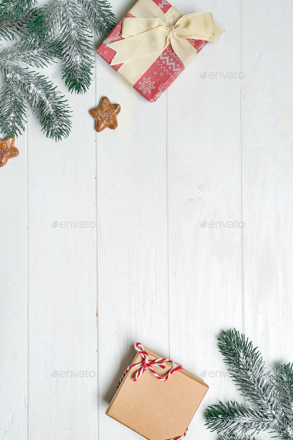 Christmas Card Background.Old Wood Background With Fir Branches Holiday Gifts Christmas Card Top View Gifts Boxes With Fir