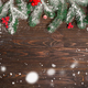 Holiday's Background with Season Wishes and Border Christmas Tree Branches Decorated with - PhotoDune Item for Sale