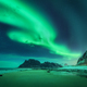 Bright aurora, sea, sandy beach and snowy mountains - PhotoDune Item for Sale