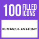 100 Humans & Anatomy Filled Blue & Black Icons - GraphicRiver Item for Sale