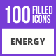100 Energy Filled Blue & Black Icons - GraphicRiver Item for Sale