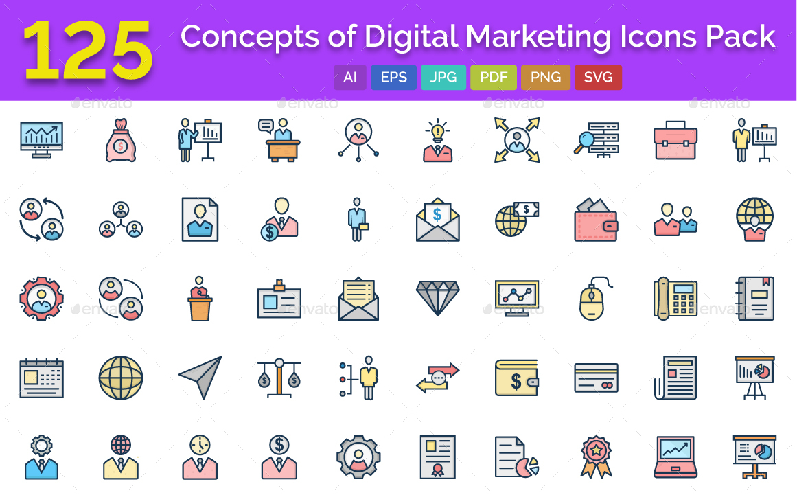 125 digital marketing isolated vector icons by ranksol graphicriver 125 digital marketing isolated vector icons