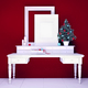 Mock up poster and christmas tree on a dresser with white walls - PhotoDune Item for Sale