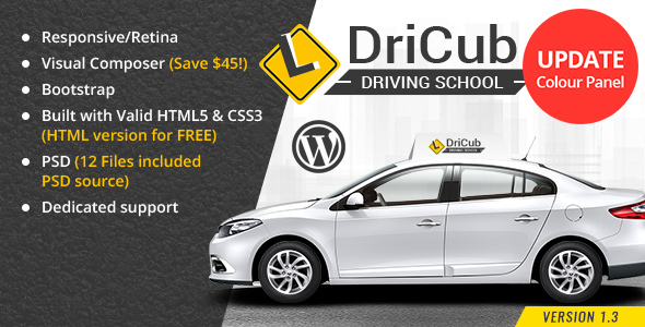 DriCub - Driving School WordPress Theme - Business Corporate