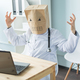 Healthcare, medical and people concept - online doctor wearing paper mask with sad face sitting at - PhotoDune Item for Sale