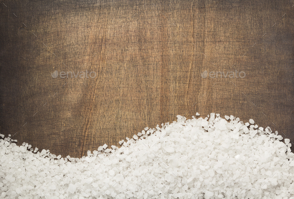 sea salt spice on wooden table - Stock Photo - Images