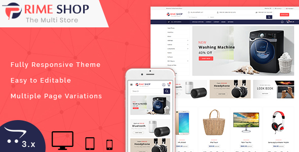 PrimeShop 3.0.X Opencart MultiPurpose Responsive Theme