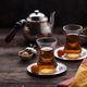 Two cup of turkish tea, close view selective focus - PhotoDune Item for Sale