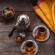 Top view of turkish tea with turkish sweets, copy space - PhotoDune Item for Sale