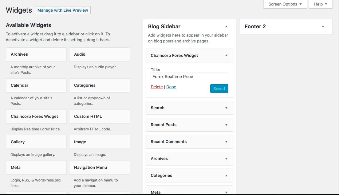 Forex price menu