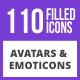 110 Avatars & Emoticons Filled Blue & Black Icons - GraphicRiver Item for Sale
