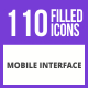 110 Mobile Interface Filled Blue & Black Icons - GraphicRiver Item for Sale