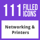 111 Networking & Printers Filled Blue & Black Icons - GraphicRiver Item for Sale