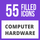 85 Computer & hardware Filled Blue & Black Icons - GraphicRiver Item for Sale