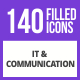 141 IT & Communication Filled Blue & Black Icons - GraphicRiver Item for Sale