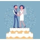 Wedding Rich Iced Cake with Bride and Groom on Top - GraphicRiver Item for Sale