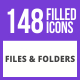 148 Files & Folders Filled Line Icons - GraphicRiver Item for Sale