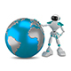 3D Illustration White Robot with Globe - GraphicRiver Item for Sale