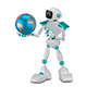 3D Illustration White Robot and Globe - GraphicRiver Item for Sale