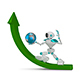 3D Illustration White Robot with Globe on Green Arrow - GraphicRiver Item for Sale