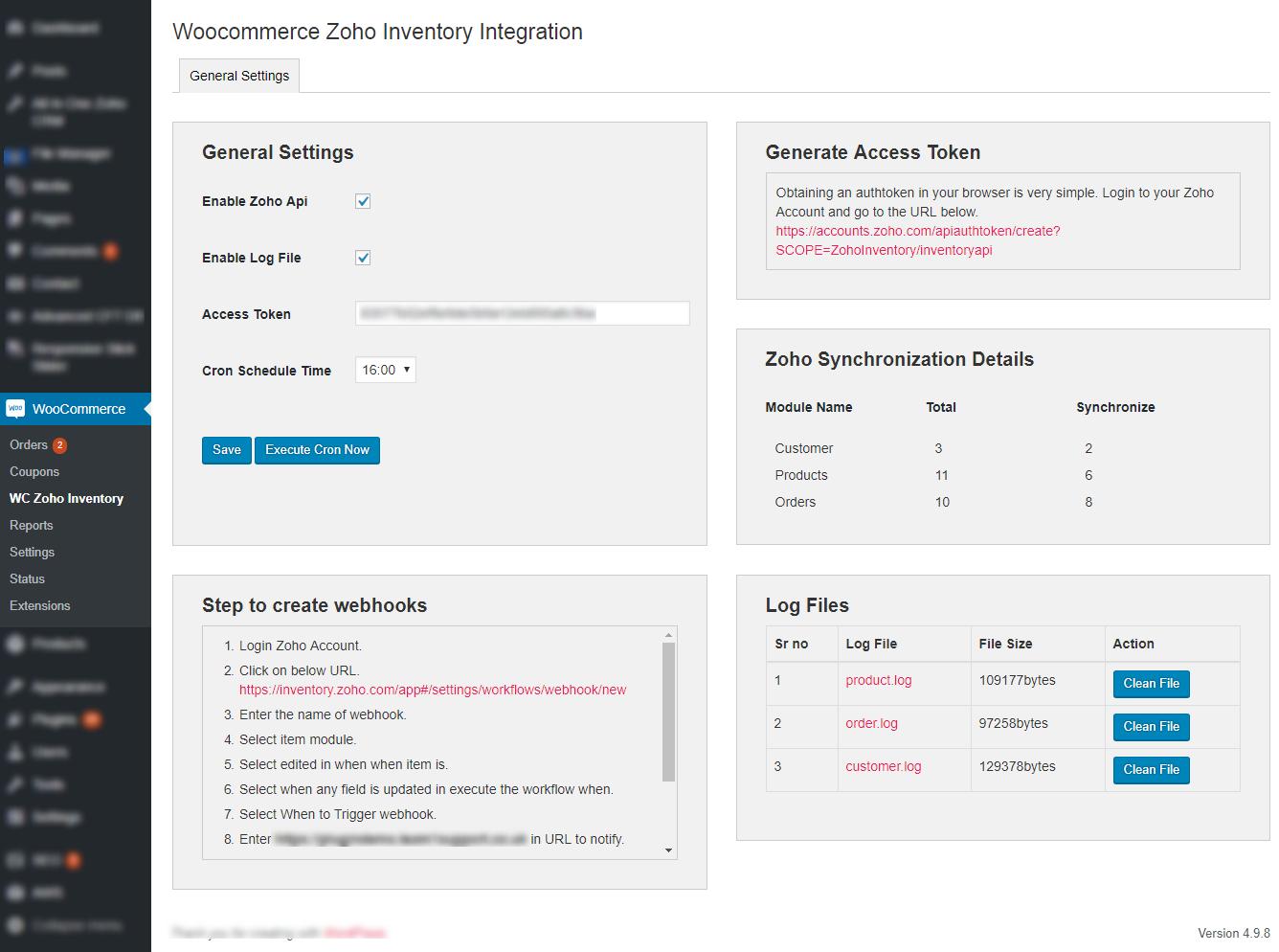 WooCommerce Zoho Inventory Integration