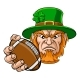 Leprechaun Holding Football Ball Sports Mascot - GraphicRiver Item for Sale