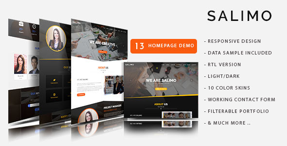 Salimo - One Page Parallax Drupal 8 Theme - Business Corporate
