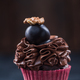 Cupcake with dark chocolate decorated with walnut - PhotoDune Item for Sale