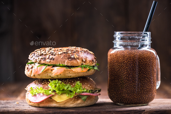Fresh homemade bagels with chia smoothie - Stock Photo - Images
