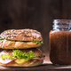 Fresh homemade bagels with chia smoothie - PhotoDune Item for Sale