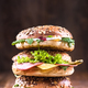 Healthy bagels tower,copy space,wooden background - PhotoDune Item for Sale