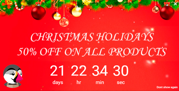 Christmas Holiday Popup Banner Discount Countdown - CodeCanyon Item for Sale