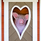 Funny pink piglet looking out the heart-shaped window - PhotoDune Item for Sale
