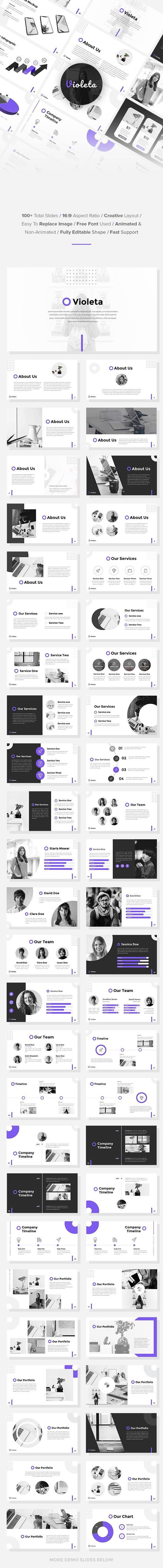 Violeta - StartUp Pitch Deck Google Slides Template - Google Slides Presentation Templates